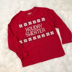 "Oshkosh Boys ""Holiday Sweater"" Graphic Tee Shirt"
